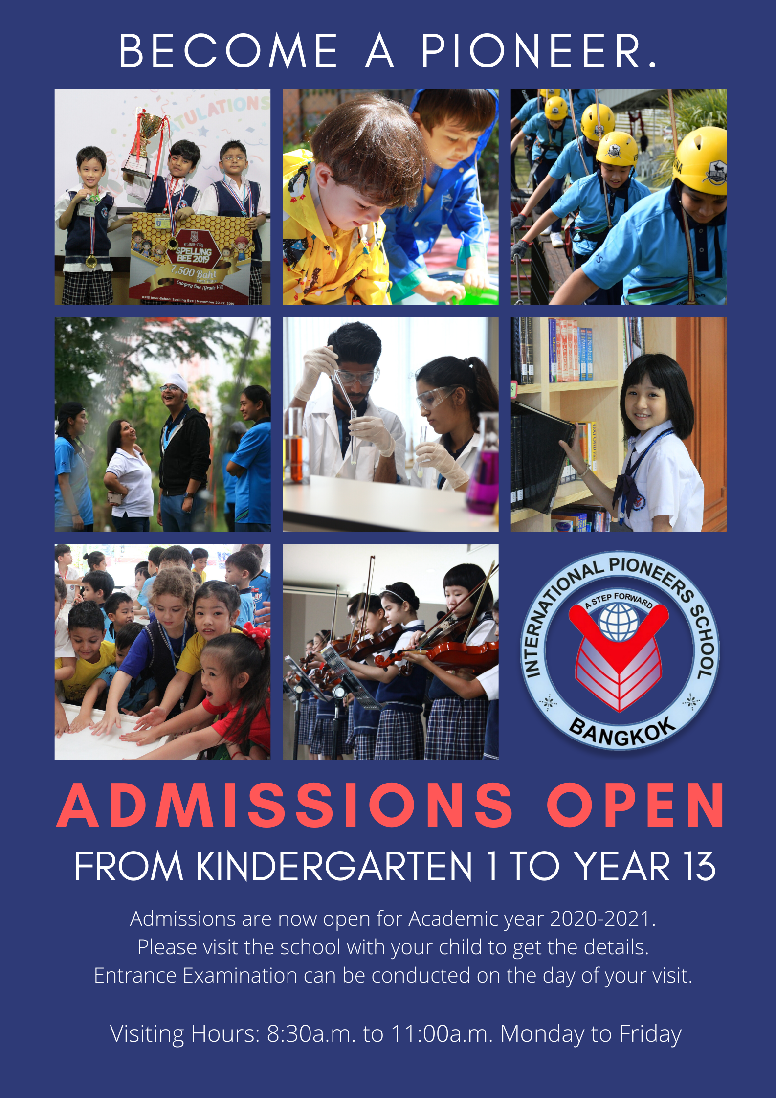 New Admissions from Kindergarten 1 to Year 13 for AY 2020